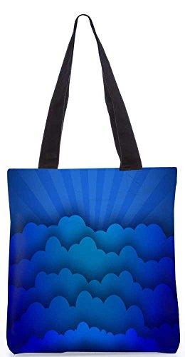 """Snoogg Blaue Wolken Tragetasche 13,5 X 15 In """"Einkaufstasche Dienstprogramm Trage Aus Polyester Leinwand"""