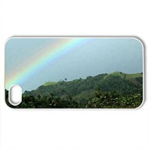 Island Rainbow - Case Cover for iPhone 4 and 4s (Rainbows Series, Watercolor style, White)