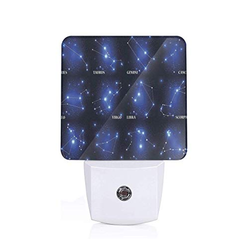 Colorful Plug in Night,Zodiac Sign Set Symbols and Names Group of Stars Cluster Esoteric,Auto Sensor LED Dusk to Dawn Night Light Plug in Indoor for Childs Adults ()