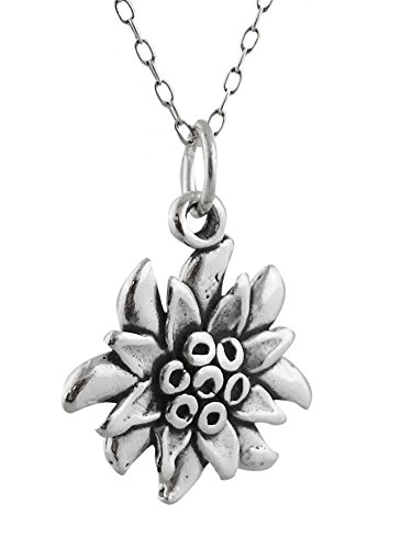 Sterling Silver Edelweiss Flower Charm Pendant Necklace, 18 Inch ()