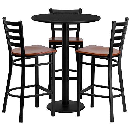 "Best office laminate table set – Flash Furniture 30"" Round Black Laminate Table Set with 3 Ladder Back Metal Barstools – Cherry Wood Seat"