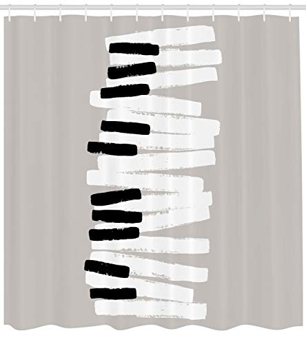 Lunarable Piano Shower Curtain, Doodle Style Keyboard Pattern Abstract Contemporary Design Classical Music, Cloth Fabric Bathroom Decor Set with Hooks, 70 inches, Grey White