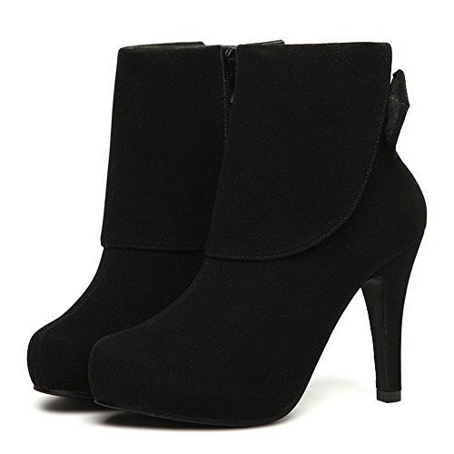 AgooLar Women's Solid High-Heels Round Closed Toe Imitated Suede Pull-on Boots Black Sro3Ul