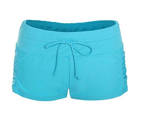 ReliBeauty Womens Ruched Side Boy Short Swim Bottoms (Small, Sea (Small Boyshort)
