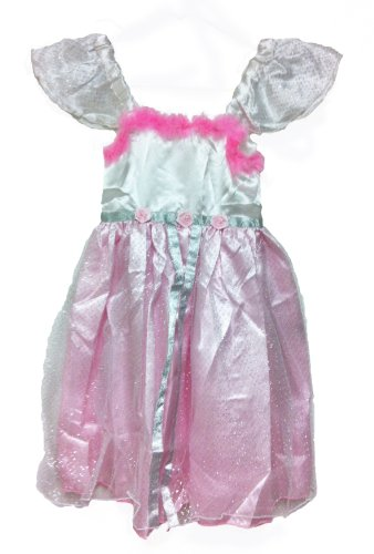 White Swan Ballerina Costume (Princess Capped Sleeve Party Dress with Feathers (large, pink))