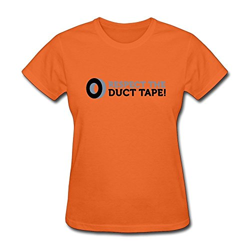 HD-Print Vintage Respect Duct Tape T-shirt For Woman Orange Size