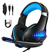 #LightningDeal 75% claimed: DeepDream Stereo Gaming Headset GM-5 with Noise Cancelling Mic, Led Lights, Volume Control – Compatible with Nintendo Switch, Xbox One, PlayStation 4 and PC