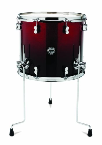 Pacific Drums PDCM1618TTRB 16 x 18 Inches Floor Tom with Chrome Hardware - Red to Black Fade - Black Pacific Tom Drum