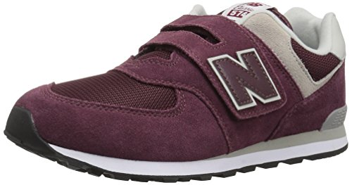 New Balance Boys' 574v1 Essentials Hook and Loop Sneaker,  Burgundy/Grey, 7.5 M US Toddler by New Balance