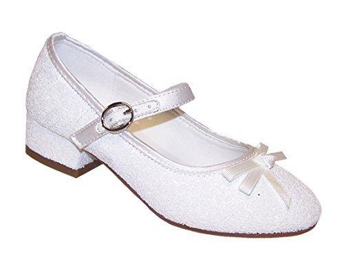 Girls' White Glitter Occasion Communion Wedding Dress Heeled Shoes Synthetic (Holy Communion Shoes White)