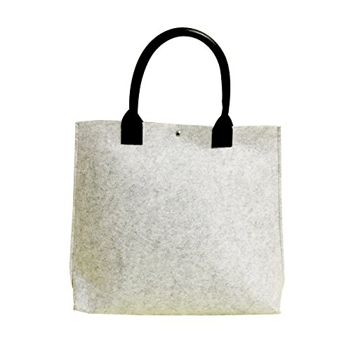 2018 New Design Fel t& Pu Leather Handle Reusable Shopping Bag Eco-Friendly Grocery Shopping Bags (Dark Grey)