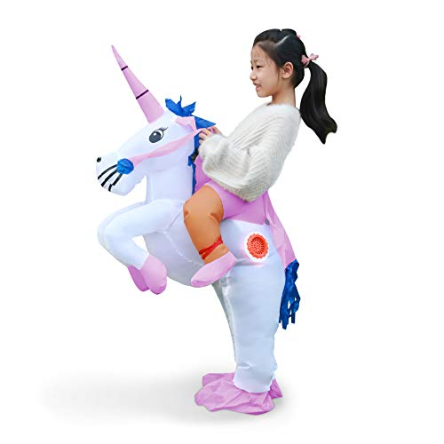 Linsion Inflatable Unicorn Costume Suit Halloween Cosplay Fantasy Air Blow Up Costume -