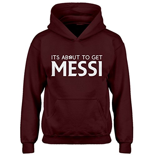 Indica Plateau Kids Hoodie Its About to Get Messi Large Maroon Hoodie by Indica Plateau (Image #5)