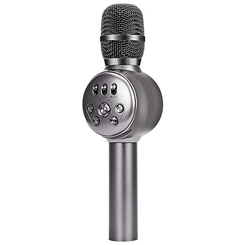 BONAOK Wireless Bluetooth Karaoke Microphone with Dynamic LED Light, 4 in 1 Portable Handheld Karaoke Mic Home Party Birthday Speaker for iPhone/Android/iPad/PC/Sony (Space Grey) by BONAOK