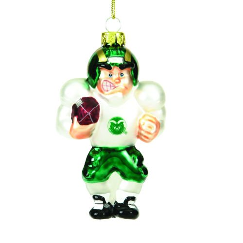 (Colorado State Glass Football Player Ornament (Set of 3))