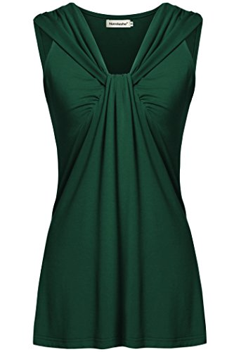 Womens Sleeveless Tunic Tops,Nandashe Cute V Neck Twist Knot Front Shirt Green M