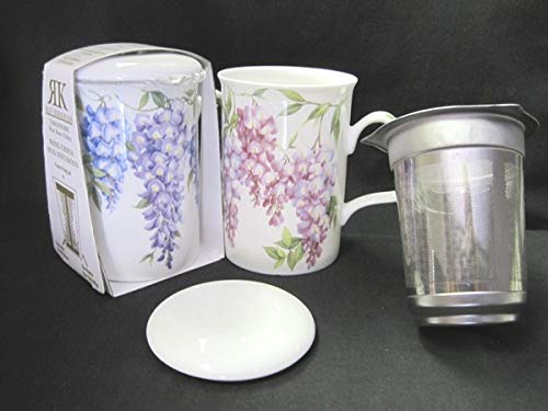 Roy Kirkham Wisteria Flower Tea Mug with Infuser and Lid Bone China ()