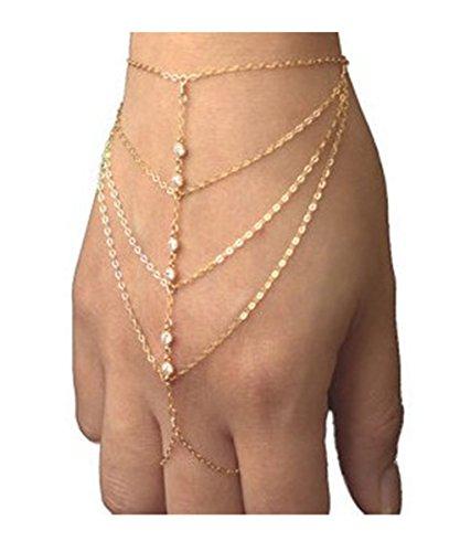 Furivy Pop Celebrity Chain Tassel Crystal Bracelet Slave Finger Ring Hand Harness