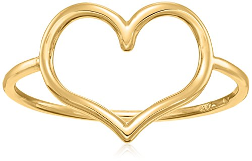 Gold Italian Heart - 14k Italian Yellow Gold Heart Ring, Size 7