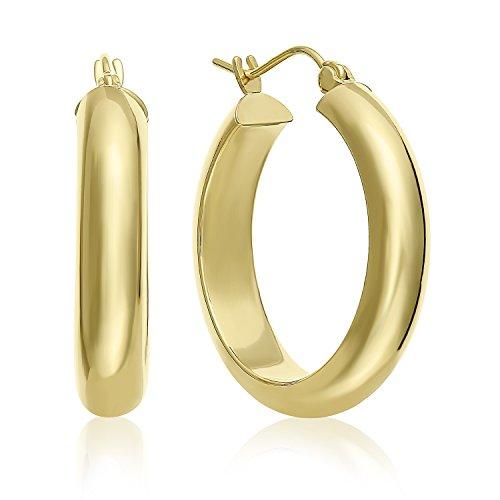 MCS Jewelry 14 Karat Yellow Gold Classic Half Round Hoop Earrings (Diameter: 1