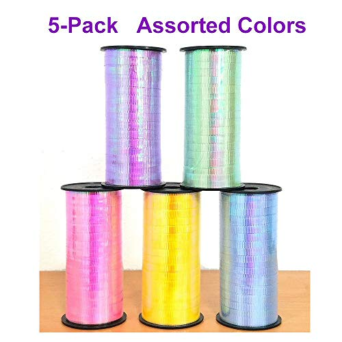 Iridescent Curling Ribbon 5-Pack, Crimped, for Wedding, Party Decoration, Birthday, Craft, Flowers, Gift Wrapping. 100 Yard per roll in Assorted Colors - Colors May Vary