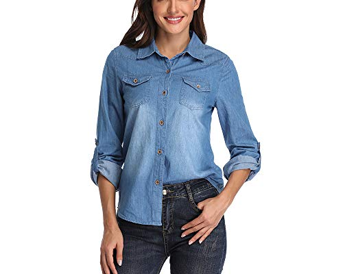 Women's Denim Shirt Rolled Long Sleeve Button Down Jeans Tops w 2 Chest Flap Pockets Blue from andy&natalie