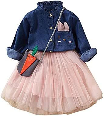 2-7 Años,SO-buts Pequeños Bebé Niña Otoño Invierno Falda De Tul + Botón De Manga Larga Camiseta Vaquera + Bolso Trajes De Princesa Conjunto Vestidos ...