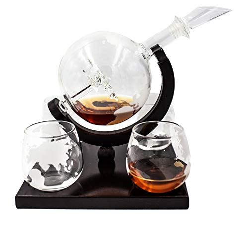 Globe Whiskey Decanter Set w/Boeing 747 Airplane Inside – Includes 4 Earth Etched Whiskey Glass Set – Elegant Whiskey Decanter Globe, Whiskey Glasses & Dark Brown Wood Base (Holds 850ml) by Live in Sync (Image #9)
