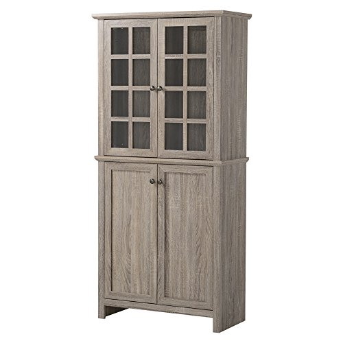 Homestar Glass Cabinet in Reclaimed Wood Finish by Home Star