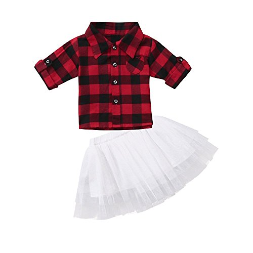 Price comparison product image Happy Town Toddler Baby Girls 2Pcs Dress Set Button Down Plaid Flannel T-Shirt + Sweet Tutu Skirt (Red Plaid, 12-18 Months)