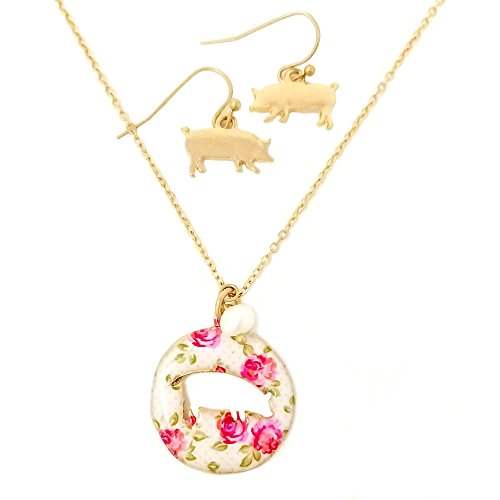 Pig Floral (Emulily Floral Pig Cutout Necklace set with Pearl Charm Farm animal (Worn Gold))