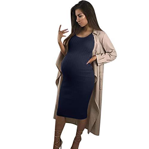 Forthery Women's Summer Casual O-Neck Maternity Pregnanty Dress Sleeveless Bodycon Vest Long Dresses(Dark Blue,L=US 8) -