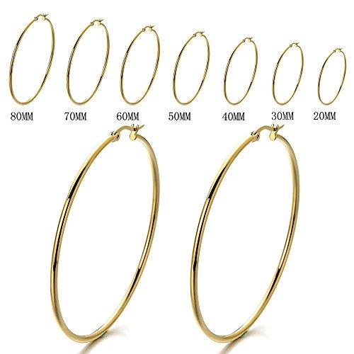 Pair Stainless Steel Large Plain Circle Huggie Hinged Hoop Earrings for Women Gold Color