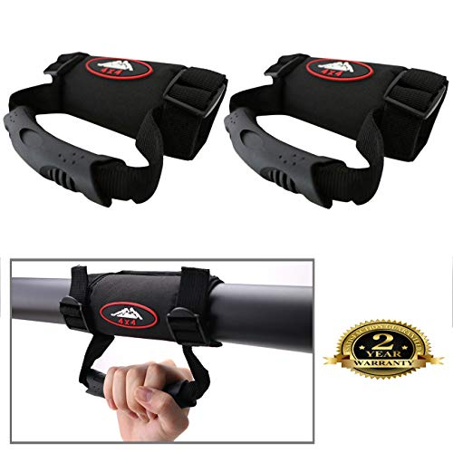 (BOXATDOOR 2 Pack ATV & UTV Hand Holds Roll Bar Grab Handle Adjustable (Black))