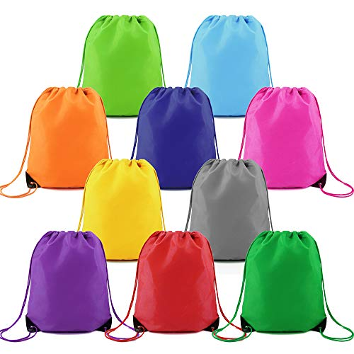 Drawstring Backpack String Bags 10 Pack Bulk for Birthday Party Polyester Custom Multipurpose Cinch Bag for Heat Vinyl and Tie Dye (Multicolored) ()