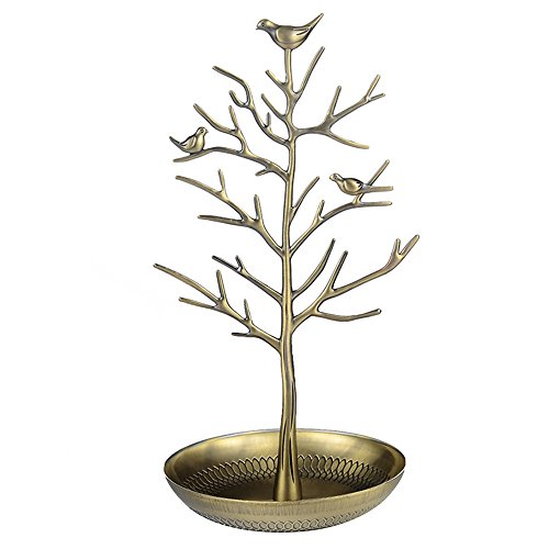 Happy Hours - Little Birds Tree Iron Craft Accessories Holder / Vintage Antique Silver Bronze Earring Necklace Bracelets Jewelry Hanging Organizer Rack Tower(Gold) (Iron Holder Jewelry Vintage)