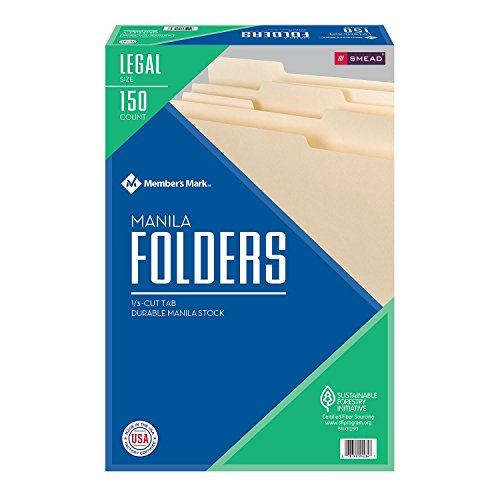Smead File Folders, 1/3 Cut Tabs, Manilla, Legal Size (150 (Manilla File Folders)