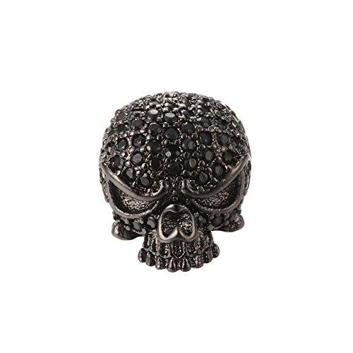 NBEADS 5PCS Brass Micro Pave Cubic Zirconia Gunmetal Skull Head Beads Black Gemstones CZ Skull Beads Bracelet Connector Charm Beads