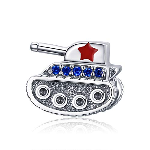Red Enamel Five-Pointed Star Tank Charms Authentic 925 Sterling Silver Charms Soldier Charms for Bracelet