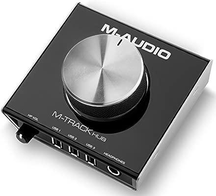 M-Audio M-Track Hub - Interfaz de audio USB con hub de 3 puertos integrado