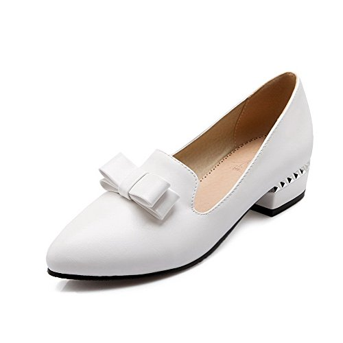 VogueZone009 Women's Soft Material Pointed Closed Toe Low-Heels Pull-On Solid Pumps-Shoes White XK2bPGVww