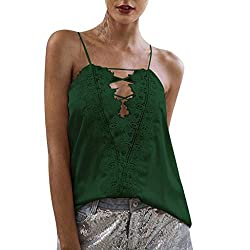 Pengy Womens Lace Up Top Fashion Flower Stitching V Neck Basic T Shirt Lady Strappy Solid Tank Tops Army Green