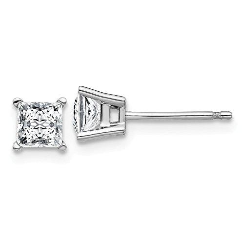 14K White Goldw 3/4ct. 4.0mm Square Brilliant Moissanite 4-Prong Basket Post Earring -