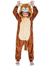 fc3c7d4fd Kids Unisex Anime Pajamas New Halloween Lion Children Sleepwear Animal Zip  up Flannel Onesie Pajamas Cosplay