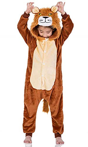 EVELS Kids Unisex Anime Pajamas New Halloween Lion Children Sleepwear Animal Zip up Flannel Onesie Pajamas Cosplay Costume (Brown-Lion, S) for $<!--$17.99-->