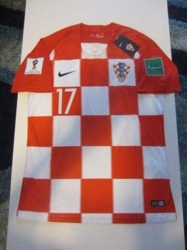 Dri-FIT Mario MANDZUKIC #17 Croatia HNS Hrvatska 2018 World Cup X-Large Red and White Home Jersey Patches