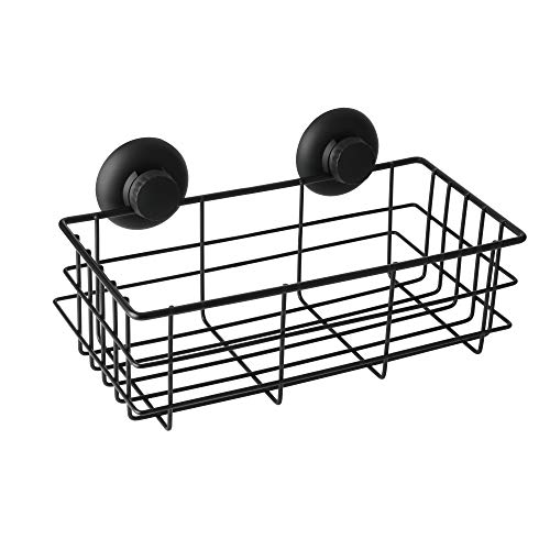 Alise GX801-B Non-Drilling Shower Caddy Bathroom Basket Storage Suction Cups Mount,SUS 304 Stainless Steel Matte Black