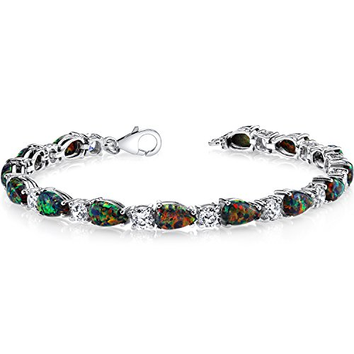 7.00 Carats Created Black Opal Tennis Bracelet Sterling Silver Tear Drop