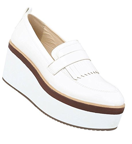 Damen Halbschuhe Schuhe Plateau Business Elegant Slipper Loafers Weiß