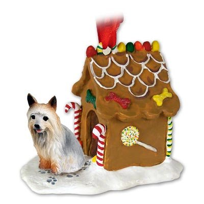 SILKY TERRIER Dog NEW Resin GINGERBREAD HOUSE Christmas Ornament 93